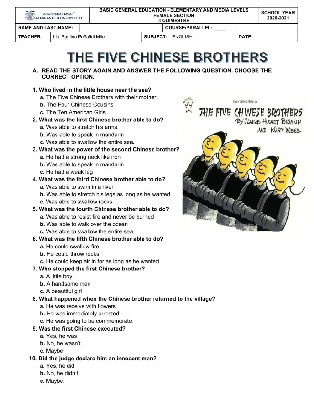 The 5 chinese brothers - Interactive worksheet