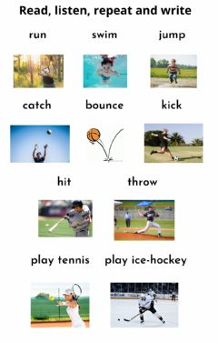 Interactive worksheet Action Verbs in Sports