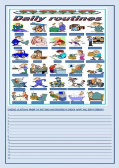 Interactive worksheet Simple Past Routines