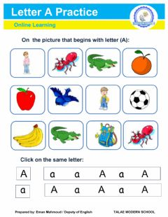 Interactive worksheet Letter A : Practice