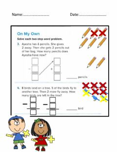 Interactive worksheet Two Step Word Proplem
