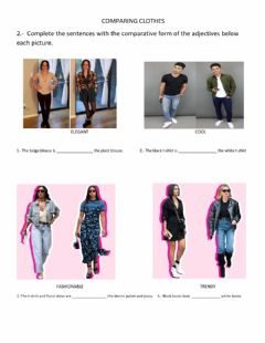 Interactive worksheet Comparing clothes