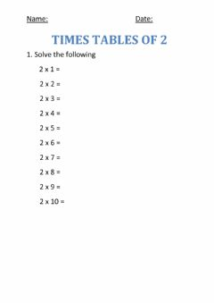 Interactive worksheet Times tables of 2