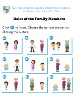 Interactive worksheet Roles of the Family Members
