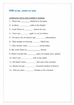 Interactive worksheet Some, any, a-an