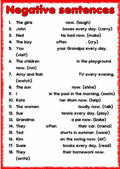 Interactive worksheet Negative sentences