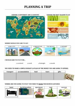 Interactive worksheet Travel