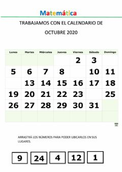Interactive worksheet Calendario mes de octubre