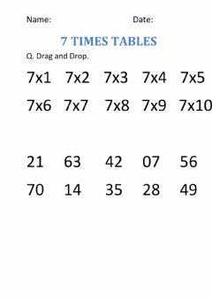 Interactive worksheet Times tables of 7
