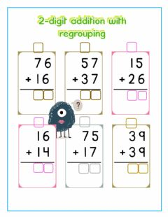 Ficha interactiva 2-digit addition with regrouping