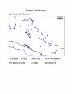 Ficha interactiva Labelling the Map of the Bahamas