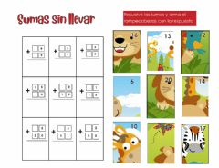 Interactive worksheet Sumas sin llevar hasta 20