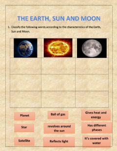 Ficha interactiva Earth, Sun and Moon