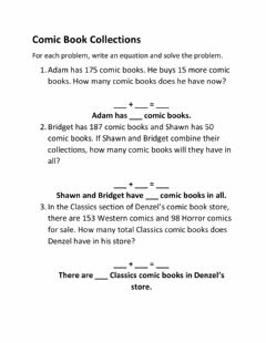 Interactive worksheet Comic Book Collections