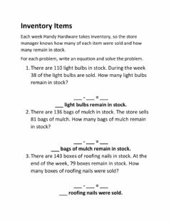 Interactive worksheet Inventory Items