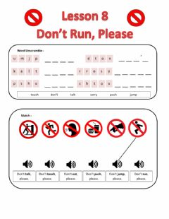 Interactive worksheet Lesson 8: Don't Run Please