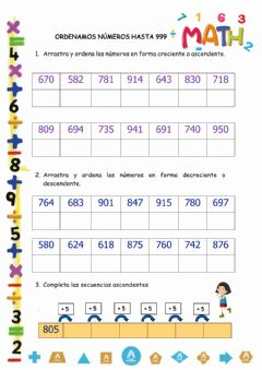 Interactive worksheet Orden ascendente y descendente hasta 999