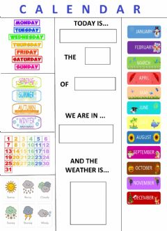 Interactive worksheet English Calendar