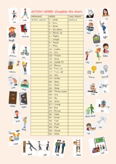 Interactive worksheet Action verbs. -ing form