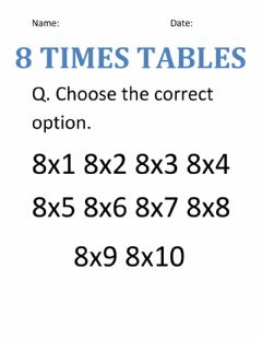 Interactive worksheet Times tables of 8