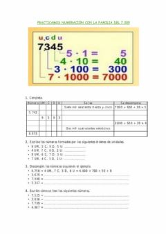 Interactive worksheet Familia del 7.000