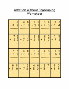 Interactive worksheet Adding without Regrouping