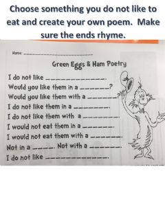 Interactive worksheet Green Eggs and Ham poetry
