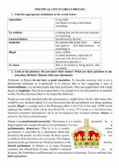 Interactive worksheet Politica Life in the UK