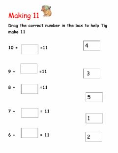 Interactive worksheet Number bonds 11