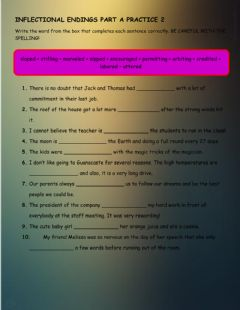 Interactive worksheet Inflectional Endings Part A PRACTICE 2
