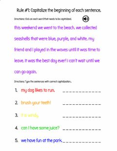 Interactive worksheet Capitalize the Beginning of Sentences