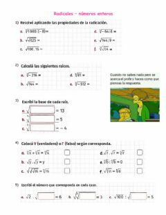 Interactive worksheet Radicación - enteros