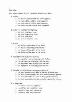 Interactive worksheet Modal Perfect - Asher's trip to the Hermon...