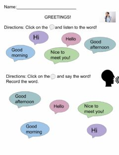 Interactive worksheet Greetings Listen and Say