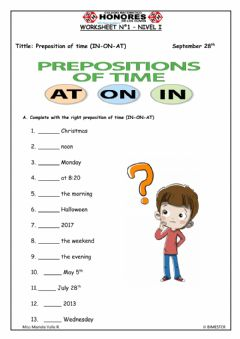 Interactive worksheet Preposition of time