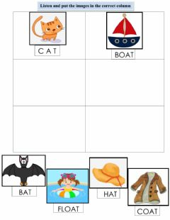 Interactive worksheet Rhyming words A and B