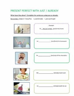 Interactive worksheet Present perfect with just