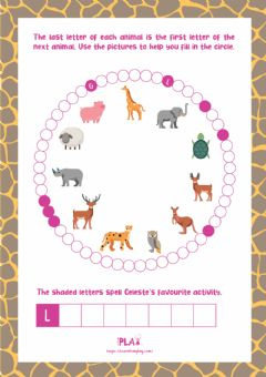 Ficha interactiva Celeste the giraffe who loves to laugh -Animal Word Circle