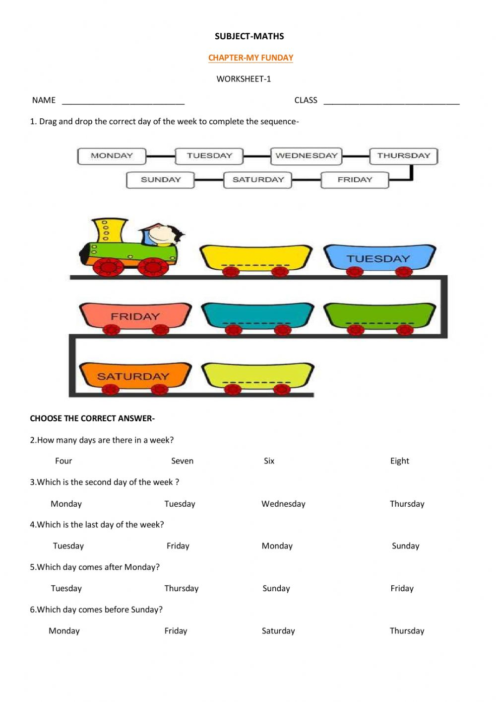Class 2 Funday Worksheet