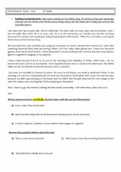 Interactive worksheet Reading and used of English