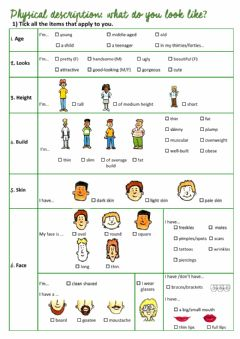 Interactive worksheet Physical Description