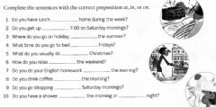 Interactive worksheet At, in, on