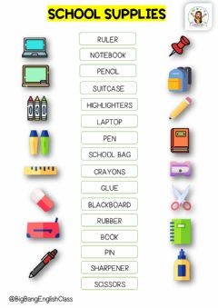 Interactive worksheet School supplies