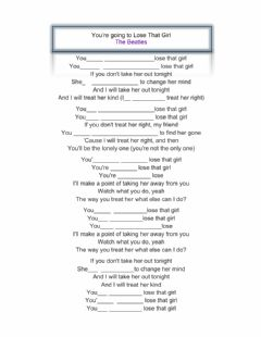 Interactive worksheet You're going to lose that girl - Beatles