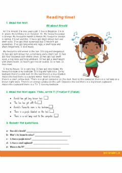 Interactive worksheet Reading about Arnold