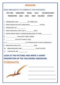 Interactive worksheet Dinosaurs