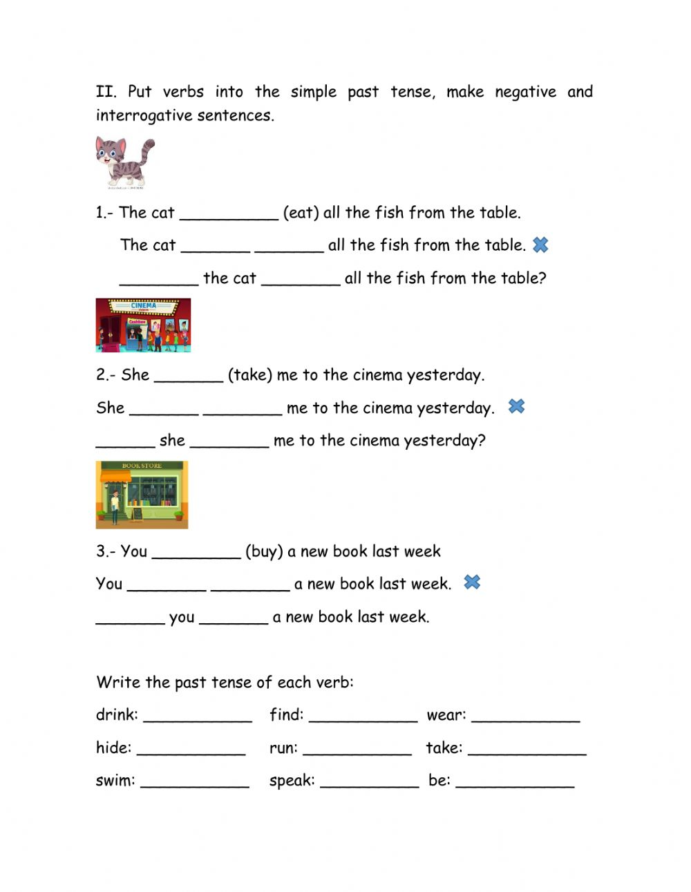 Verbs in past tense exercise