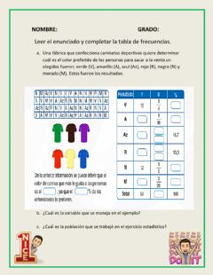 Interactive worksheet Variables estadísticas