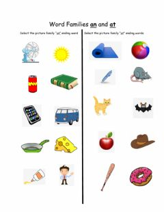 Interactive worksheet At and  an words
