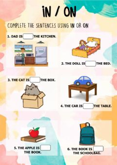 Interactive worksheet Prepositions of place: in - on